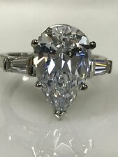 Pear Shape Engagement Ring with Baguettes 4.50 ctw. 14k White Gold #4706
