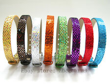 50 pieces lot 8mm Sequin PU Leather Bracelet Wristbands Fit 8mm Slide Charms
