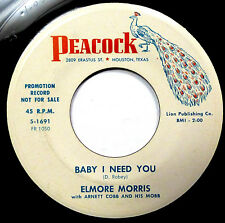 ELMORE MORRIS 45 Baby I Need You / What Can I Do 1960 Popcorn Bopper DJ WS1445