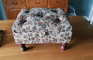 Vintage heavy Floral cottage Style Footstool With Storage and padded top.