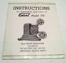 Rare Excel Model 110 Instruction Booklet For a 8mm Movie Projector