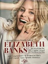 ELIZABETH BANKS Congratulations on Crystal Award Hollywood trade advertisement