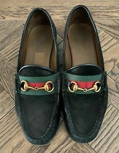 100% Authentic Gucci Black Suede Moccasins Loafers Shoes with BOX & DUSTBAG
