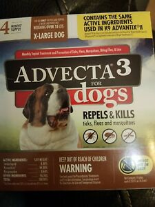 Advecta 3 for X-Large Dogs >55 lbs, 4 Month Supply, New