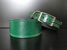MEDIUM Leather Dog Collar LINED Greyhound Whippet Saluki GREEN CRACKED EFFECT