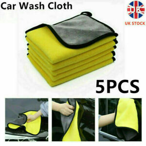 5x Car Wash Cloth Microfibre Super Absorbent Polishing Cleaning towels Drying UK