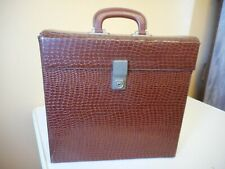 """Vintage Brown 12"""" vinyl Record Carrying Case with Handle and Latch EXCELLENT"""