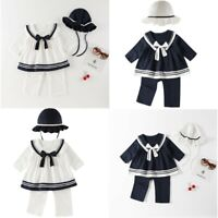 Baby Girls Sailor Romper Outfits Infant Birthday Party Clothes Tops + Pants+Hat