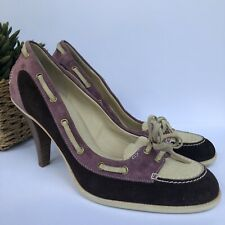 "BALLY ""Balmoral"" Loafer Suede Heels-Size 37"