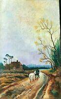 Tableau ancien, cheval sur un chemin de campagne,