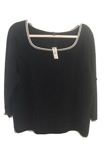 Talbots Black Scoop Neck Sweater Pxl NWT
