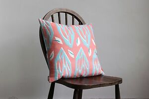 MODERN LINEN CUSHIONS - RETRO DESIGNS FEATHER FILLED - PRISM CORAL