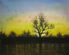 """20x24""""Hand Painted Oil Flat.Landscape,Frost,Dawn, Sunrise,Sunset, High Quality"""