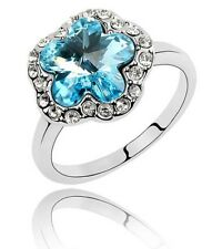 Elegant Ocean Blue Crystal & White Rhinestones Flower Ring small size M FR55OB