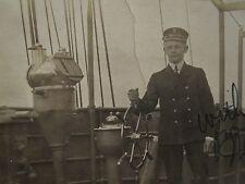 ANTIQUE SHIP MAST SCHOONER BRASS INSTRUMENTS WHEEL NAUTICAL 1917 OLD RPPC PHOTO