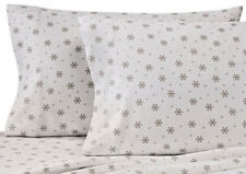 Snowflake King or Standard Flannel Pillowcases Heavyweight Taupe White set of 2