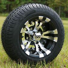 "Golf Cart 10x7 Vampire Silver/Black Wheels & 18"" Low Profile Tires - Set of 4"