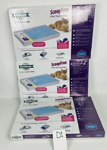 PETSAFE SCOOPFREE Disposable Blue Crystal Cat Litter Tray With Litter Lot Of 3
