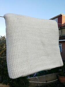 Cashmere Blanket Throw Travel Wrap Handmade NEPAL Home sofa  Ivory white checker
