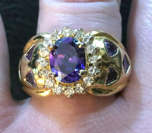 Gold Sterling Silver Ring Amethyst CZ Oval Halo 9x7 Sz 7 10g 925 Ross Simons1365