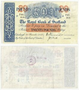Old Royal Bank of Scotland £20 Banknote dated 1.12.1952