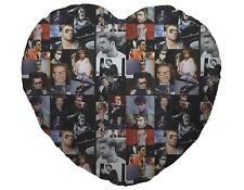 Colour George Michael Fan Montage Design Heart Shaped Cushion Valentines Day