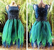 PLUS SIZE Fairy Dress Party Costume with Wings - MIDNIGHT BLUE & FOREST GREEN