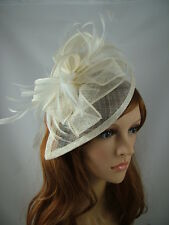 Ivory Cream Teardrop Sinamay Fascinator with Feathers - Occasion Wedding Races
