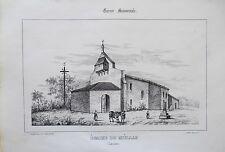Litografía siglo XIX Iglesia de miellan Las landas Murciélago J. Philippe