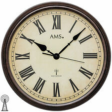 AMS 5977 Wanduhr Funk Metallgehäuse Mineralglas