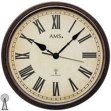 NEU große Wanduhr Uhr Funk Funkuhr AMS 42 cm Büro Business Vintage römisch braun