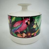 Vintage 1993 Vitromaster Rain Forest Sue Zipkin Ceramic Sugar Bowl and Lid
