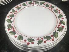 Two (2) Oneida Winter Wonderland Holly N' Berries Stoneware Salad Plates NEW!