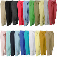 NEW LADIES ITALIAN LAGENLOOK QUIRKY BOHO COMFY 2 POCKET LINEN TROUSERS PANTS