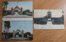 Lot Of 3 1906-08 Postcards Of The Entrance & Tower To Highland Park Brockton Ma