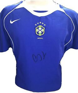 Signed Cafu Retro Brazil Away Shirt 2004 World Cup Winner