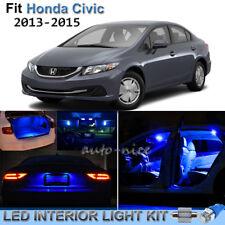 8pcs Pure Blue Interior LED Lights Package Kit For 2013-2016 Honda Civic