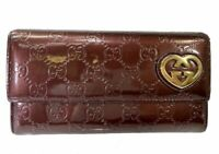 Authentic GUCCI GG Logo Pattern Patent Leather long Wallet Heart Italy 58717842