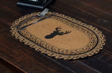 TROPHY MOUNT Jute Oval Placemat Set of 6 Braided Deer Buck Black Stencil Hunting