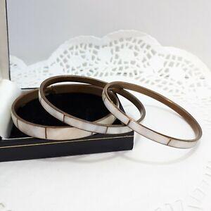 Vintage MOP Shell Inlay Brass Bangles Stacking Layering Boho Bracelets /H119