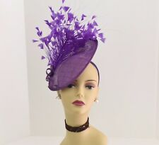 Kentucky Derby Wedding Tea Party Sinamay feather Fascinator Cocktail617(Purple )