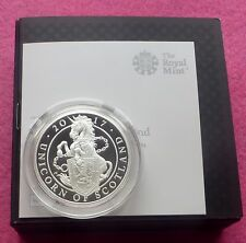 2017 QUEEN'S BEASTS UNICORN OF SCOTLAND  £5 1oz SILVER  PROOF COIN BOX AND COA