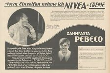 Y4872 Zahnpasta PEBECO - NIVEA Creme - Pubblicità d'epoca - 1927 Old advertising