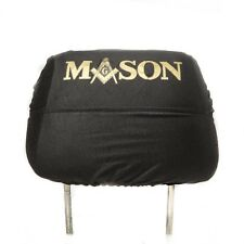 Set of 2 Black Masonic Car Headrest Seat Head Rest Covers - Mason - Freemason