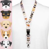 Rolseley PINK Lanyard Neck Strap with 20 Dog Puppy Breeds Pattern + Card Holder