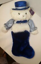 Holiday Time White Teddy Bear Christmas Stocking Royal Blue Hat