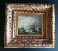 Antique Style Maritime Seascape Oil Painting Ships at Sea Fishermen Signed Art