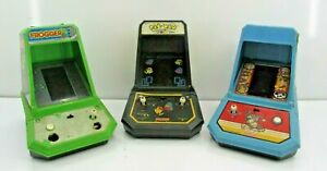 Coleco 1981 Donkey Kong Pacman & Frogger Mini Arcade Electronic Games Table Top