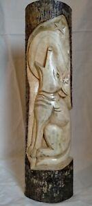Large 50cm Carved Wood Slice Wolf 'totem' Plaque Freestanding Sculpture