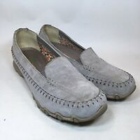 Skechers Womens Loafer Relaxed Fit Taupe Suede Leather Memory Foam 48930 Sz 7
